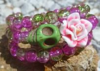 Day of the Dead Sugar Skull Pink Lime Wrap Bracelet FREE SHIPPING
