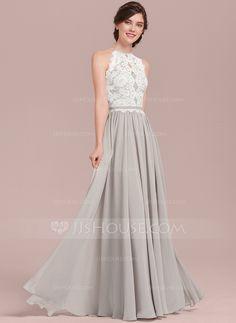 d7ac1831480 A-Line Princess Scoop Neck Floor-Length Chiffon Lace Bridesmaid Dress  Bridesmaid Dresses