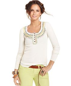 Free People Top, Long-Sleeve Scoop-Neck Stitched Thermal - Womens Tops - Macy's    Medium