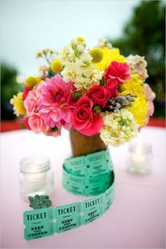 brightly colored florals and carnival ticket centerpiece - Deer Pearl Flowers