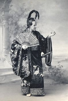 """Torquay Operatic Society (amateur), """"The Mikado,"""" 1899, Edward Walters as The Mikado of Japan, costume design heavily influenced by the costumes of the original DOC production and subsequent DOC tours."""