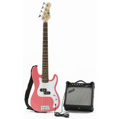 Gear4Music 3/4 Size Junior Bass Guitar and Amp PINK Great value and superb quality pack that is ideal for younger players or anyone prefering a smaller and lighter bass guitar. Comes complete with a 15W bass amp cable and strap.Bass guitar colour: PINK http://www.comparestoreprices.co.uk/bass-guitars/gear4music-3-4-size-junior-bass-guitar-and-amp-pink.asp