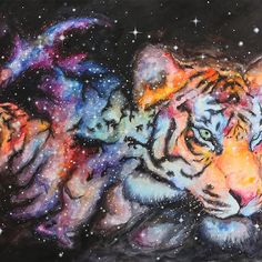 Forged From Stars Cosmic Tiger Iphone Case By Amanda Tulacz Cat Painting Tiger Art Galaxy Painting