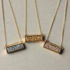 Druzy Bar Necklace, Druzy Pendant, Drusy Necklace, Gold Druzy Necklace, Druzy Jewelry, Rose Gold Silver Druzy, Holiday Jewelry, Under 50 by juliegarland on Etsy https://www.etsy.com/listing/250095423/druzy-bar-necklace-druzy-pendant-drusy