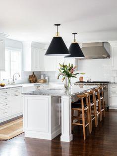 Kitchen With Big Island, Narrow Kitchen Island, Kitchen Layouts With Island, Modern Kitchen Island, Long Kitchen, Kitchen Island With Seating, Kitchen Redo, New Kitchen, Kitchen Island No Sink