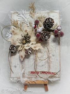 Vintage Handmade: Secret Santa at Anything But Cute Rustic Christmas, Christmas Wreaths, Christmas Crafts, Xmas, Christmas Ornaments, Create Christmas Cards, Secret Santa, Cool Cards, Make It Yourself