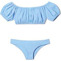 Leandra Cornflower Seersucker Button Bikini ❤ liked on Polyvore featuring swimwear, bikinis, baby blue bikini, bikini tops, bikini two piece, off the shoulder bikini and swimsuit tops