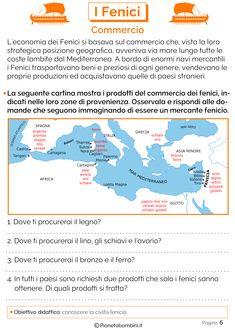 I Fenici: Schede didattiche per la Scuola Primaria | PianetaBambini.it Learning Italian, Problem Solving, Homeschool, Diagram, History, Montessori, Drink, Food, Socialism