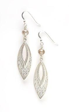Silver Tribal Marquise Drop Earrings