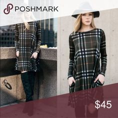 XX SARABETH plaid dress - OLIVE Hidden side pockets. How darling is this plaid sweater knit dress.   Such fun & warm colors for this upcoming season. Semi-sheer, breathable.   🚨NO TRADE, PRICE FIRM🚨 Bellanblue Dresses Long Sleeve