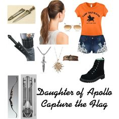 Daughter of Apollo- Capture the Flag by mercedez-albright on Polyvore featuring dELiA*s, T.U.K., David Yurman, L. Erickson, Ray-Ban, percyjackson, pjo, Demigod and apollo