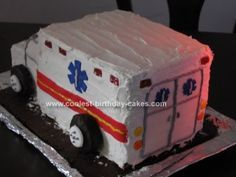 Homemade Ambulance Birthday Cake Design: This Homemade Ambulance Birthday Cake Design was made for my nephew's 4th birthday. Last year he wanted a fire truck, this year he requested an ambulance