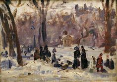 William J. Glackens - Study, Winter in the Park. Oil on Wood panel, 6 1/4 in. x 8 1/2 in. (15.88 cm x 21.59 cm). Mattatuck Museum, Waterbury, Connecticut, USA