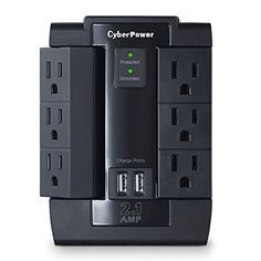 CyberPower CSP600WSU Surge Protector 6-AC Outlet Swivel with 2 USB (2.1A) Charging Ports CyberPower http://www.amazon.com/dp/B00K8ZMVZ4/ref=cm_sw_r_pi_dp_EEwLwb0KQ5B0E