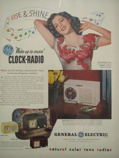 Vintage 1940s General Electric Clock Radio Advertisement