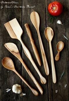 Kitchen Utensil Set - Ultimate Dreamware Collection - Wooden Spoons, Paddle, Spatula, Spurtle - in Maple