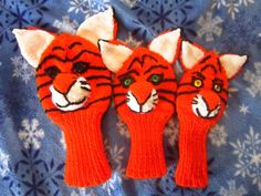 Hand Knit Tiger Golf Club Cover set of 3 Golf Club Head Covers, Golf Clubs, Hand Knitting, Trending Outfits, Unique Jewelry, Handmade Gifts, Vintage, Etsy, Products
