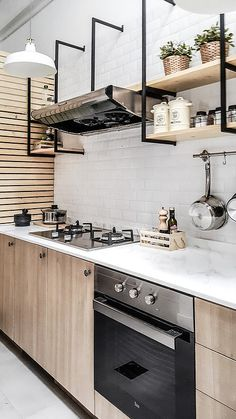 ideas wood kitchen shelves interior design for 2019 Kitchen Shelf Interior, Interior Design Kitchen, Kitchen Decor, Interior Livingroom, Wood Kitchen Cabinets, Kitchen Flooring, Kitchen Shelves, Stain Cabinets, White Cabinets