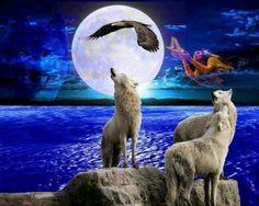 Native Spirits - Spirits, Wolves, Wolf, animals, Native, Eagle, Sky, nature