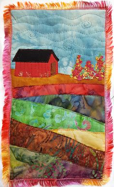Barn in Autumn Art Quilt / Fiber Art / Autumn Wall Art / Landscape Art Quilt / Landscape Fiber Art / Quilted Wall Hanging / Custom Art Quilt by DarcyDoodleQuilts on Etsy