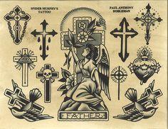 Original works by Paul Dobleman. Traditional Tattoo Cross, Traditional Tattoo Black And White, Traditional Tattoo Old School, Traditional Tattoo Design, Religion Tattoos, Flash Art Tattoos, Bert Grimm, Tattoo Tradicional, Old School Rose