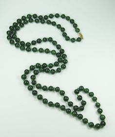 Vintage Chrysoprase Bead Necklace with 14k Gold by BelmarJewelers