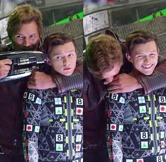 Chris Pratt and Tom Holland on set filming Avengers Infinity War. Avengers Humor, Marvel Avengers, Hero Marvel, Marvel E Dc, Funny Marvel Memes, Marvel Jokes, Dc Memes, Marvel Actors, Captain Marvel