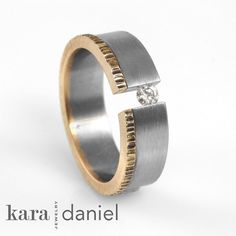 vintage diamond ~ tension-set in stainless, recycled gold by kara | daniel, via Flickr