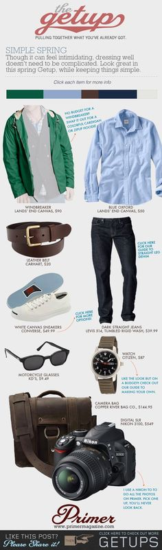 The Getup: Simple Spring - Primer look Manuel Moda Fashion, Men's Fashion, Spring Fashion, Fashion Outfits, Stylish Men, Men Casual, Style Personnel, Gentleman Style, Mode Style