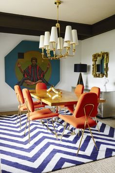 Graphic prints and geometric shapes reign supreme in the Gene Autry suite's dining room.