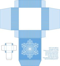 Snowflake Box, Christmas Box, Free Box Templates to print for gift boxes, wedding favours, kids crafts and gift wrap ideas, printable, box , pattern,template, container,wrap, parent crafts, decor, design, christmas, winter, snowflakes