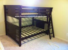 walmart New Mission Dark Walnut Finish Wood Full Over Full Bunk Bed assembled in arlington va by Furniture Assembly Experts LLC - Call 2407052263