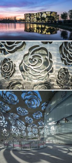 Exterior Design Ideas - 15 Buildings That Have Unique And Creative Facades // This rose museum is covered by a stainless steel facade with roses cut into it.