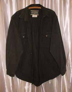 """Field & Stream brushed thick heavy flannel cotton shirt L neck 17 1/2"""" green #FieldStream #ButtonFront"""