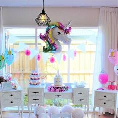 "54 Likes, 8 Comments - This Little Party (@thislittleparty) on Instagram: ""The ever popular unicorn party! This beautiful dresser and side tables are available for hire from…"""