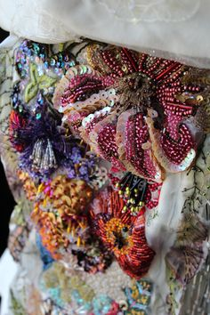 Abrash embroidery - Detail of corset created for The Wearable Art Show - 2014