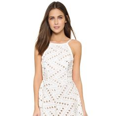 Line & Dot Geo Lace Dress Panels of geometric lace compose the full skirt on this semi-sheer Line & Dot dress. Gathered elastic waistband at the open back. Illusion hem with a zigzag trim. Slim straps. Beige lining. Line & Dot Dresses Midi