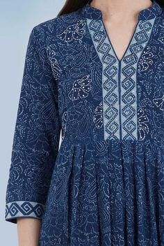 Designer Wear: Shop Designer Ethnic Wear by Farida Gupta Simple Kurti Designs, Salwar Designs, Kurta Designs Women, Kurti Designs Party Wear, Neck Designs For Suits, Dress Neck Designs, Blouse Designs, Kurtha Designs, Kurti Embroidery Design
