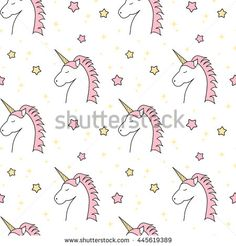 cute cartoon unicorn seamless vector pattern background illustration with stars
