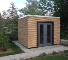 Perfect small workshop, garden storage or even small guest house. Consider adding gutters and downspout for drainage! Backyard Office, Garden Office, Modern Shed, Outdoor Storage Sheds, Bike Shed, Shed Design, Garden Buildings, Shed Plans, Exterior Design