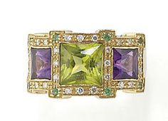Peridot and amethyst ring. Peridot Jewelry, Amethyst Rings, I Love Jewelry, Fine Jewelry, Diamond Gemstone, Gemstone Rings, Peridot And Amethyst, Jewel Colors, Gems And Minerals