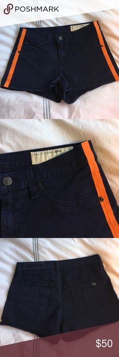 Rag and Bone jean shorts with orange detail Perfect for summer! EUC. 2 inch inseam. 96% cotton, 4% roica. rag & bone Shorts Jean Shorts