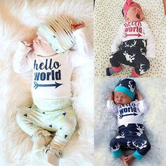 bbc3c4191b7 Newborn kids letters and deer printed suit Baby Girls Boys Hello World Tops  Romper+Deer Pants Outfits Set Clothes-in Clothing Sets from Mother   Kids  on ...