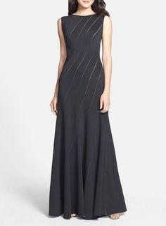 Tadashi Shoji Knit A-Line Gown BLACK Size MEDIUM #105 NWT #TadashiShoji #Formal  http://www.ebay.com/itm/Tadashi-Shoji-Knit-A-Line-Gown-BLACK-Size-MEDIUM-105-NWT-/252142197571?roken=cUgayN