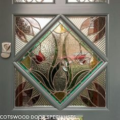 Edwardian slate grey front door with stained glass - Cotswood Doors Grey Front Doors, Painted Front Doors, Stained Glass Door, Door Gate, Window Wall, My Dream Home, Slate, Free Design, Colours