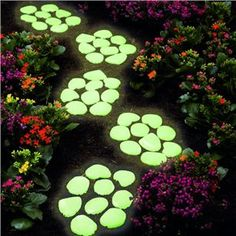 Ideas: glow in dark, chalk board, textural, metallic. Sensory Garden Glow Stones - 40 pack, cast in stepping stones
