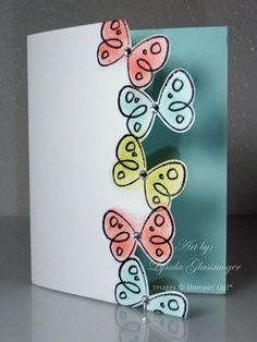 Cute idea for homemade cards, could be for birthdays or tweak it for Christmas! Love The Butterfly Edge. Cool Cards, Diy Cards, Butterfly Cards, Card Making Inspiration, Creative Cards, Creative Ideas, Greeting Cards Handmade, Scrapbook Cards, Homemade Cards