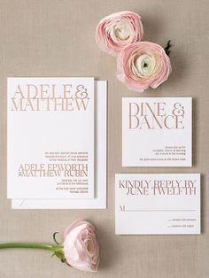 "If you're saying ""I do"" in a gallery or contemporary loft space, opt for a striking design with block text. Elevate this modern look with text wrapped in rose gold foil for an elegant finish."