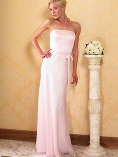 Long, pink bridesmaid dress.