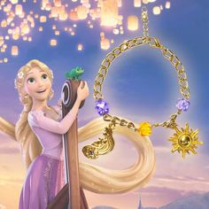 Pulseira Rapunzel Disney - épica bijuterias Sailor Princess, Princess Zelda, Disney Princess, Rapunzel, Geeks, Minions, Disney Characters, Fictional Characters, Aurora Sleeping Beauty